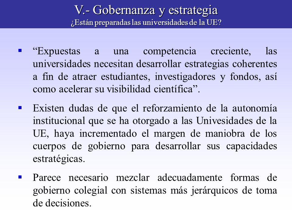 V.- Gobernanza y estrategia