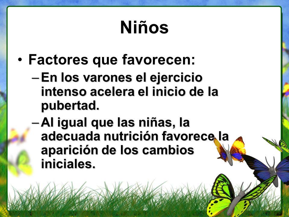 Niños Factores que favorecen: