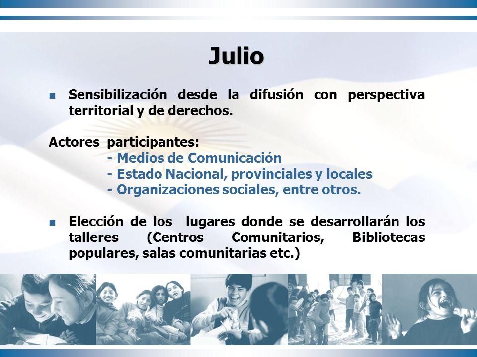 Julio Sensibilización desde la difusión con perspectiva territorial y de derechos. Actores participantes: