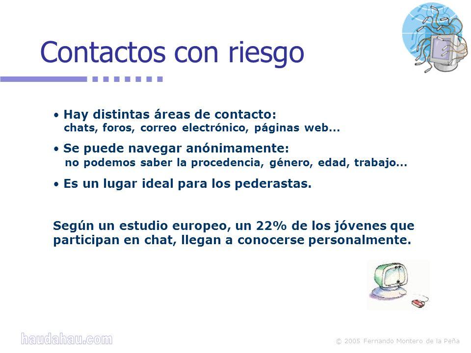 Contactos con riesgo Hay distintas áreas de contacto: chats, foros, correo electrónico, páginas web...