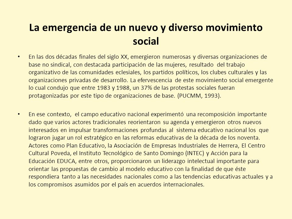 La emergencia de un nuevo y diverso movimiento social