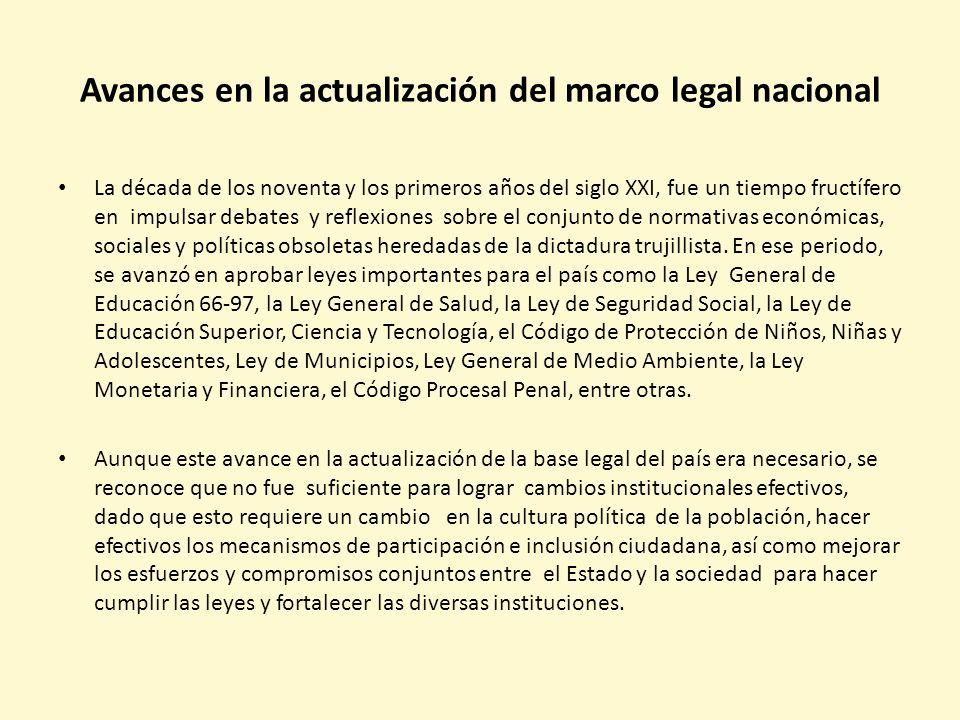Avances en la actualización del marco legal nacional