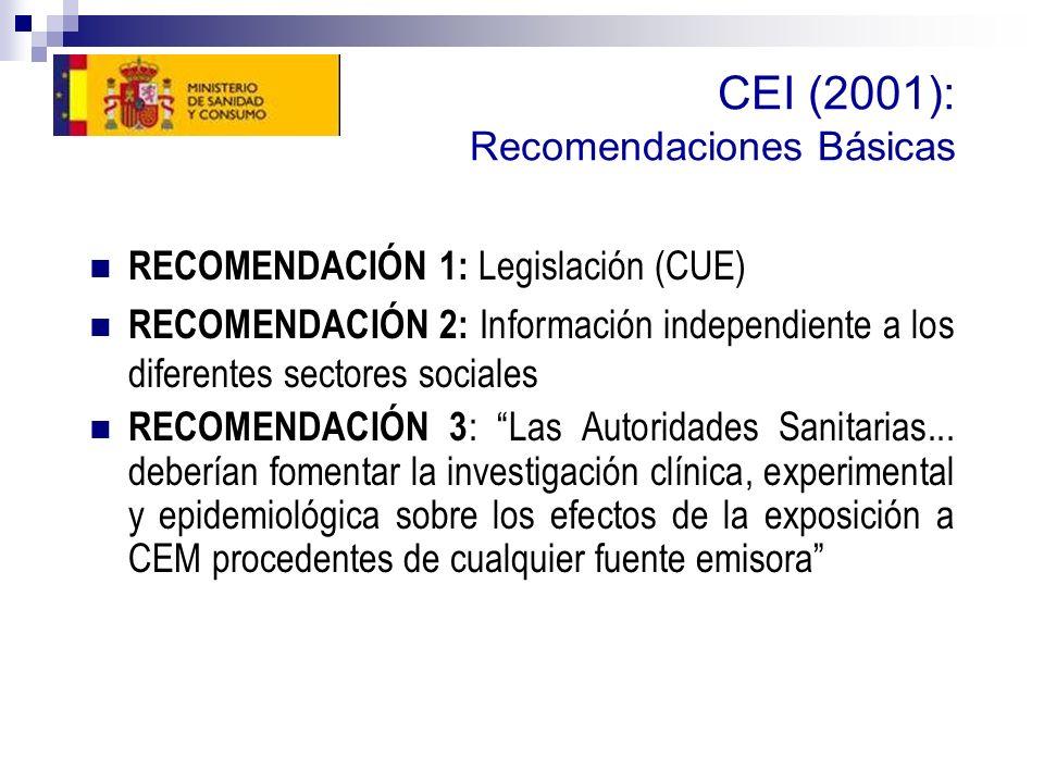 CEI (2001): Recomendaciones Básicas
