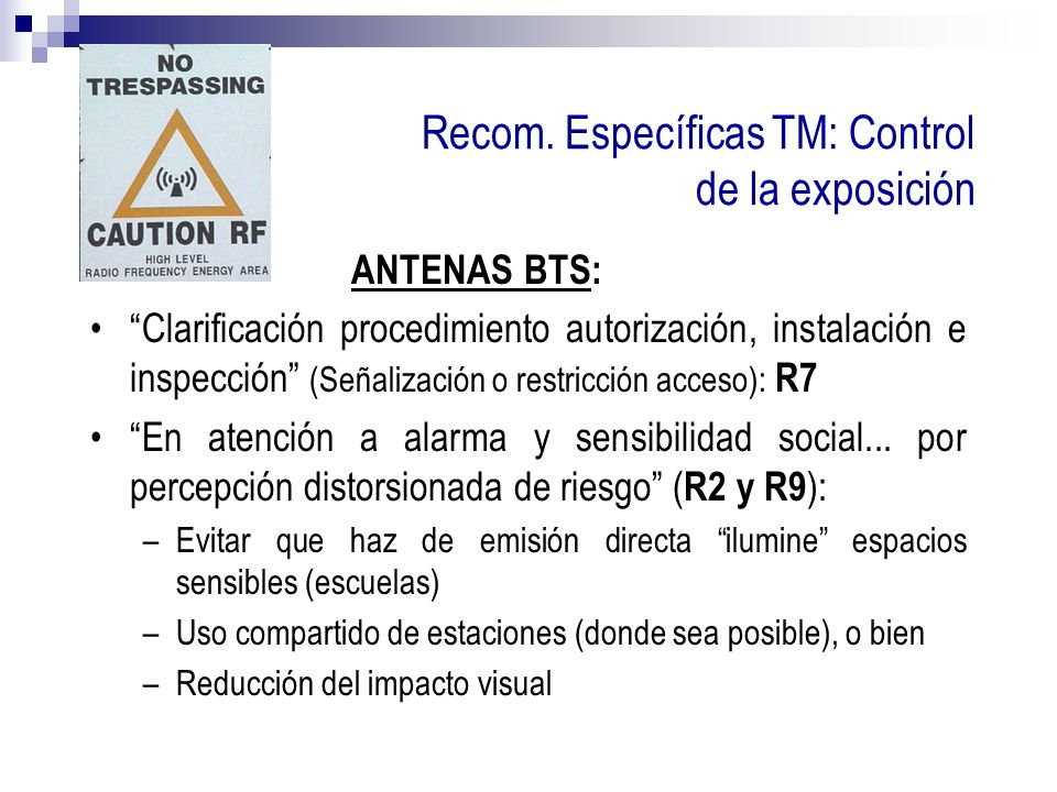 Recom. Específicas TM: Control de la exposición