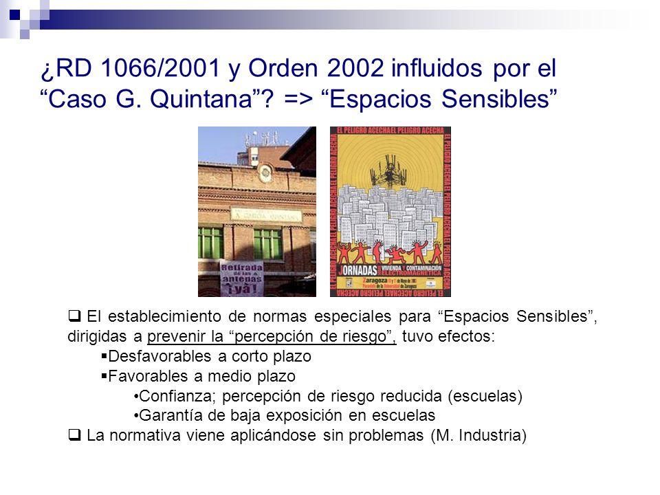 ¿RD 1066/2001 y Orden 2002 influidos por el Caso G. Quintana
