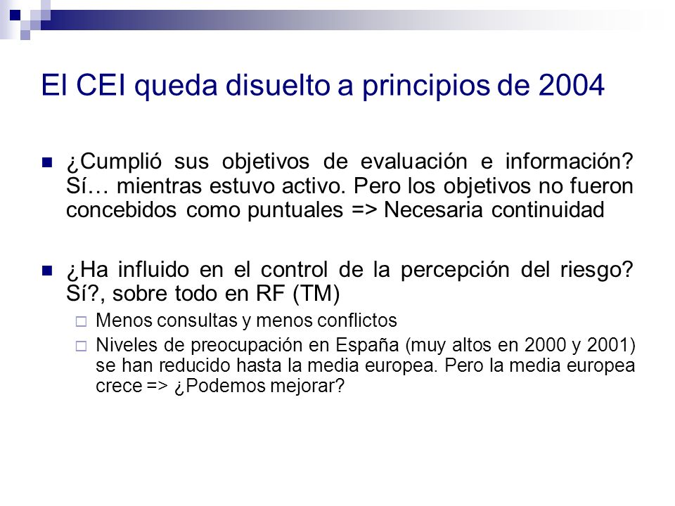 El CEI queda disuelto a principios de 2004