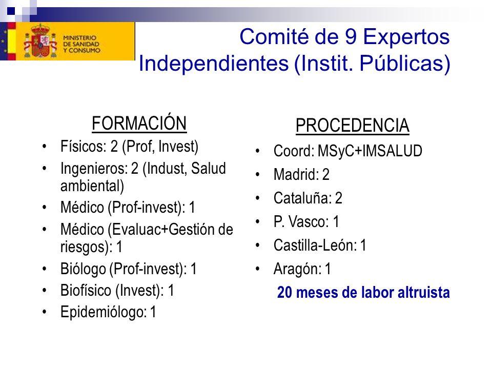 Comité de 9 Expertos Independientes (Instit. Públicas)