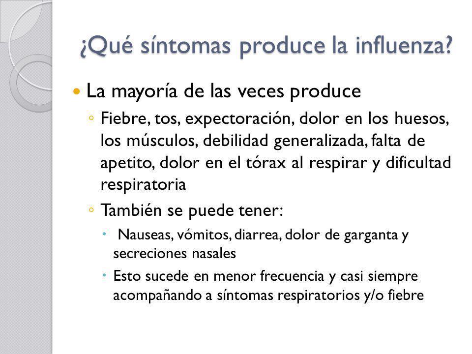 ¿Qué síntomas produce la influenza