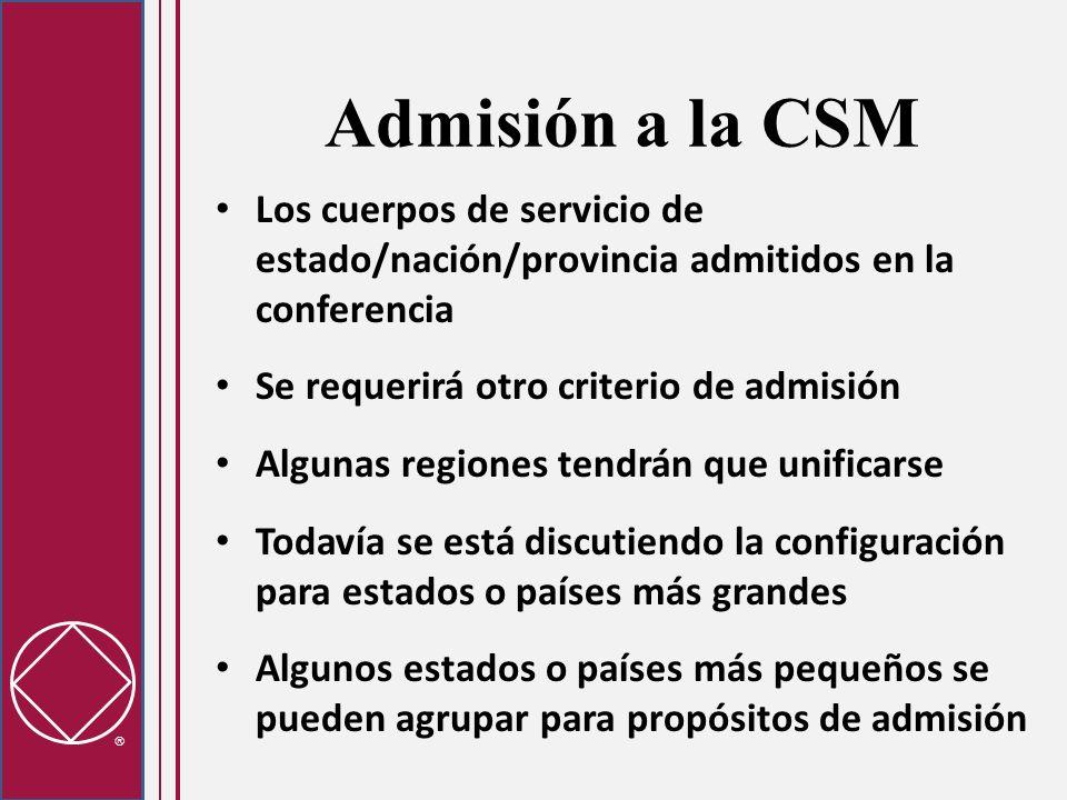 Admisión a la CSMLos cuerpos de servicio de estado/nación/provincia admitidos en la conferencia. Se requerirá otro criterio de admisión.