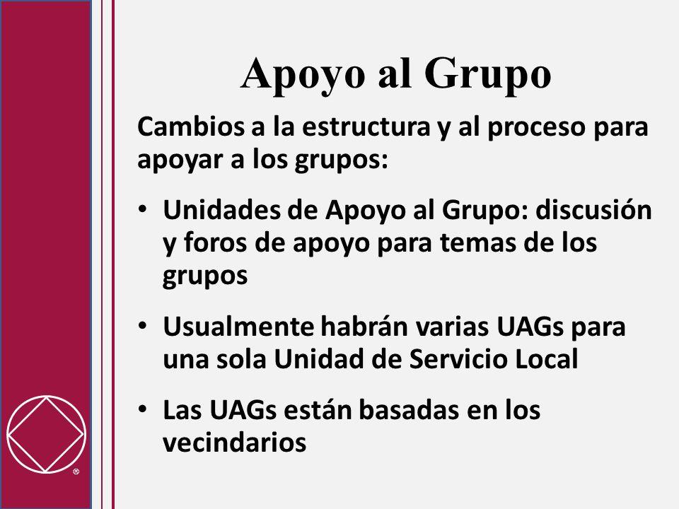 Apoyo al GrupoCambios a la estructura y al proceso para apoyar a los grupos: