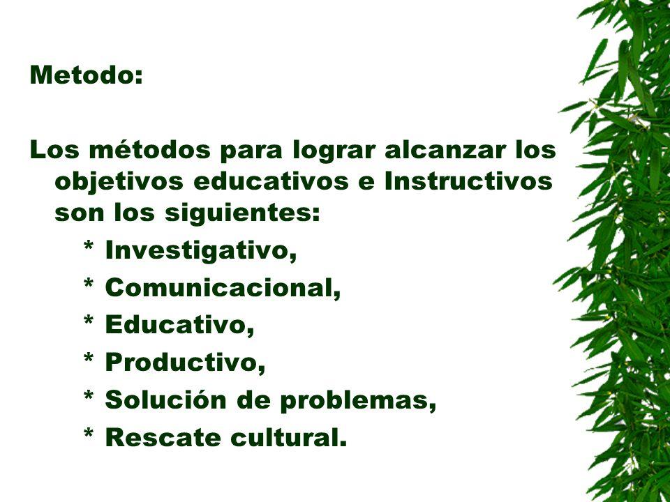Metodo: Los métodos para lograr alcanzar los objetivos educativos e Instructivos son los siguientes: