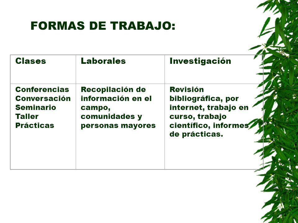 FORMAS DE TRABAJO: Clases Laborales Investigación Conferencias
