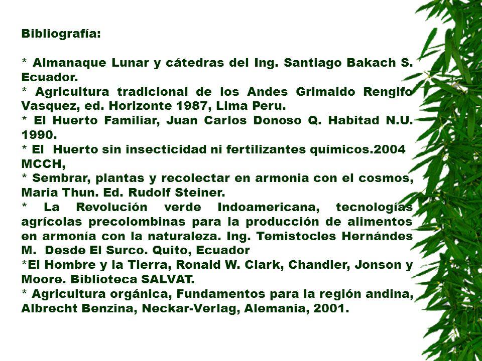 Bibliografía: * Almanaque Lunar y cátedras del Ing. Santiago Bakach S. Ecuador.