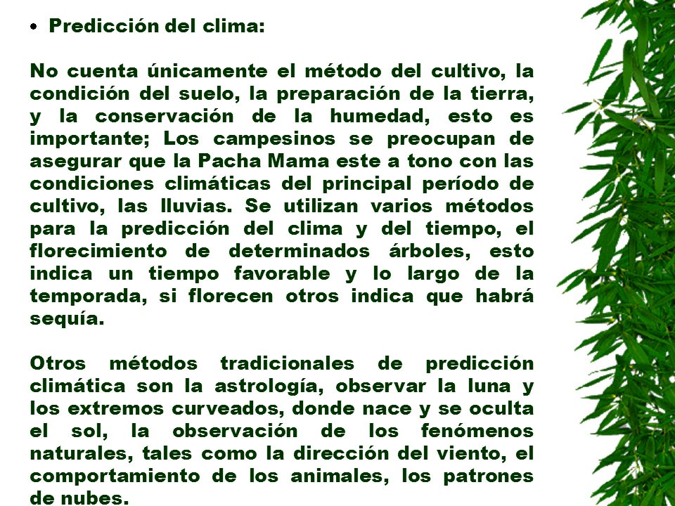 · Predicción del clima: