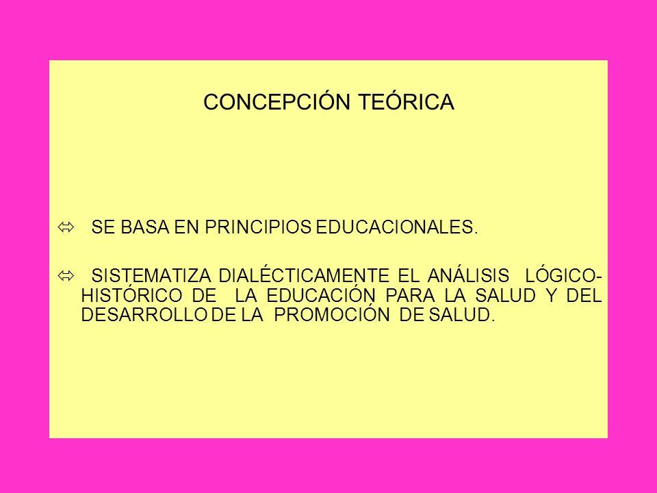 CONCEPCIÓN TEÓRICA SE BASA EN PRINCIPIOS EDUCACIONALES.