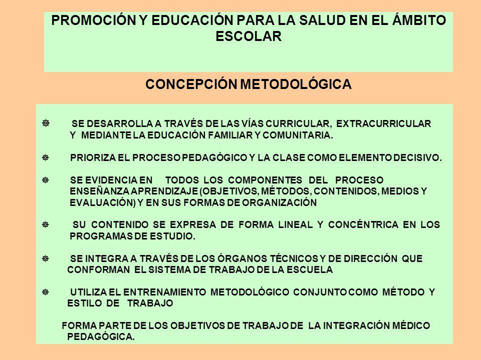PROMOCIÓN Y EDUCACIÓN PARA LA SALUD EN EL ÁMBITO ESCOLAR CONCEPCIÓN METODOLÓGICA