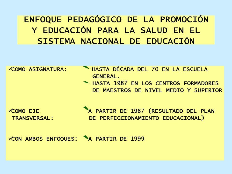 ENFOQUE PEDAGÓGICO DE LA PROMOCIÓN Y EDUCACIÓN PARA LA SALUD EN EL SISTEMA NACIONAL DE EDUCACIÓN