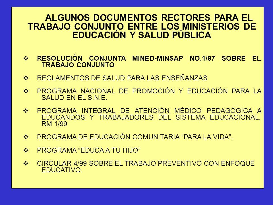 ALGUNOS DOCUMENTOS RECTORES PARA EL TRABAJO CONJUNTO ENTRE LOS MINISTERIOS DE EDUCACIÓN Y SALUD PÚBLICA