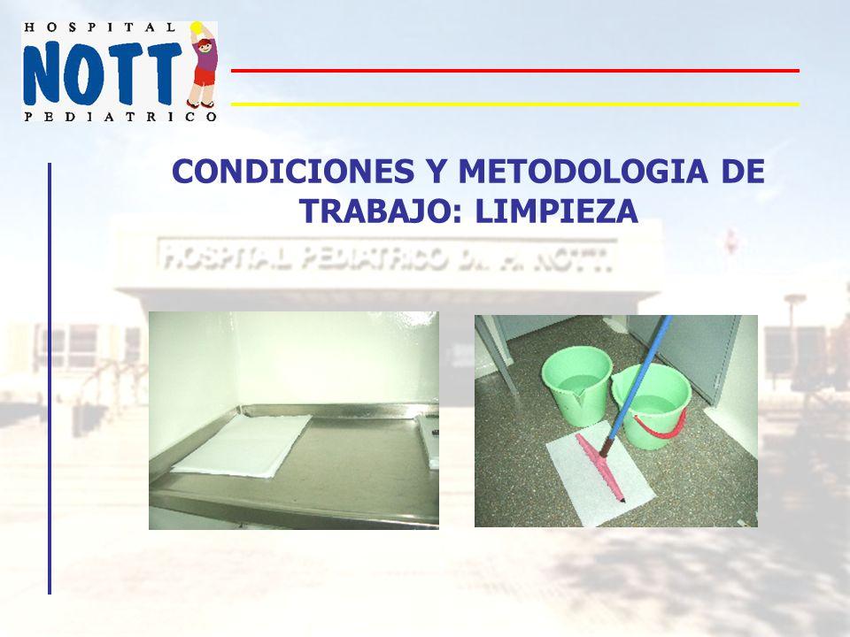 CONDICIONES Y METODOLOGIA DE TRABAJO: LIMPIEZA