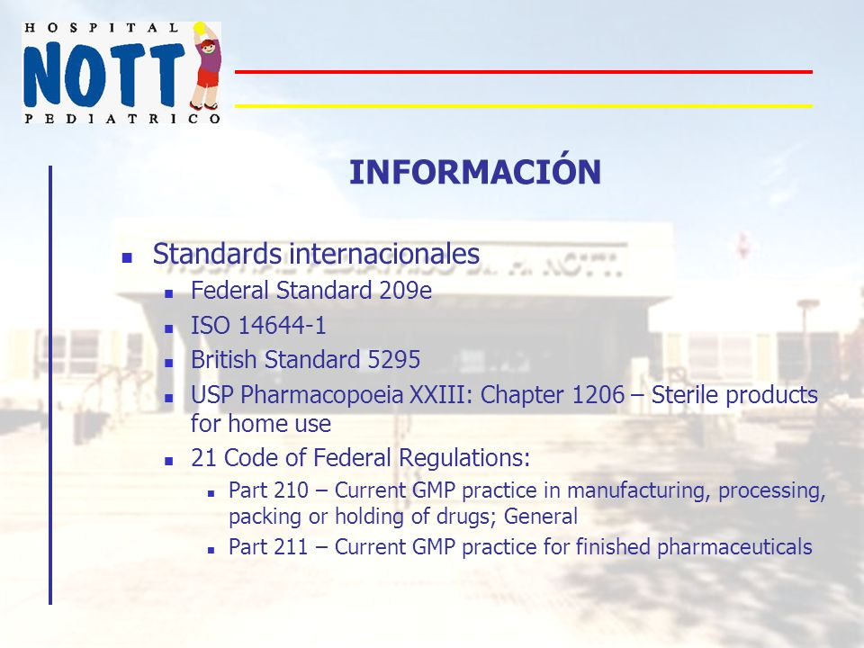 INFORMACIÓN Standards internacionales Federal Standard 209e