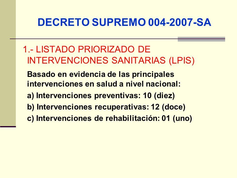 DECRETO SUPREMO 004-2007-SA 1.- LISTADO PRIORIZADO DE INTERVENCIONES SANITARIAS (LPIS)