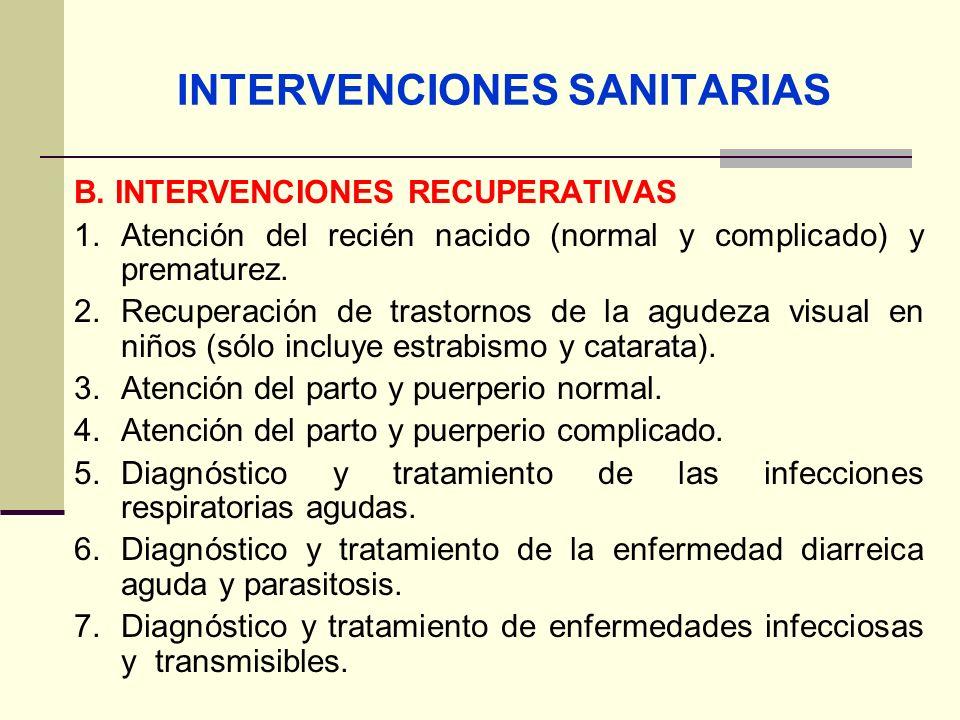 INTERVENCIONES SANITARIAS