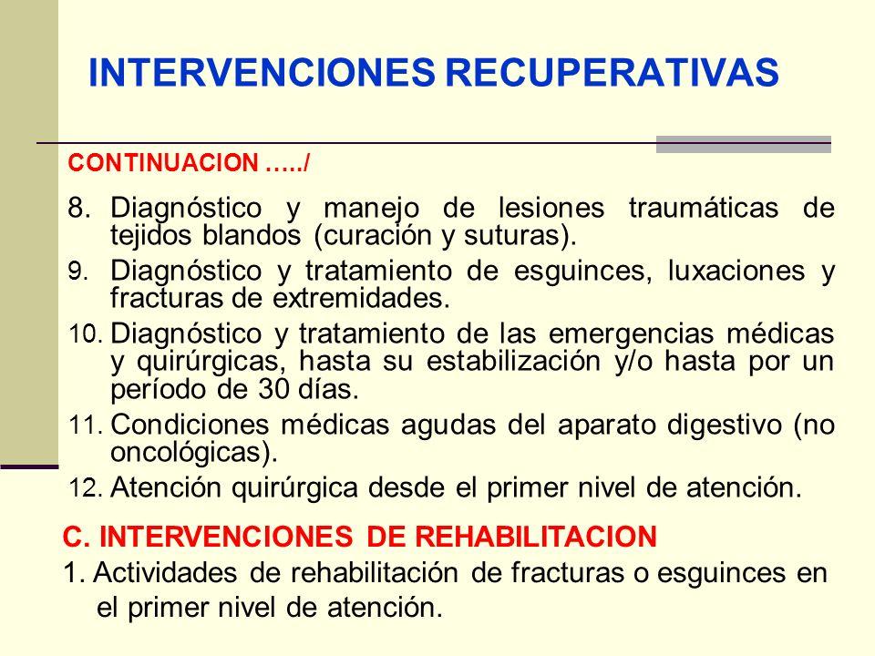 INTERVENCIONES RECUPERATIVAS