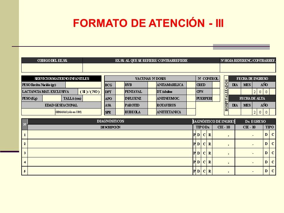 FORMATO DE ATENCIÓN - III