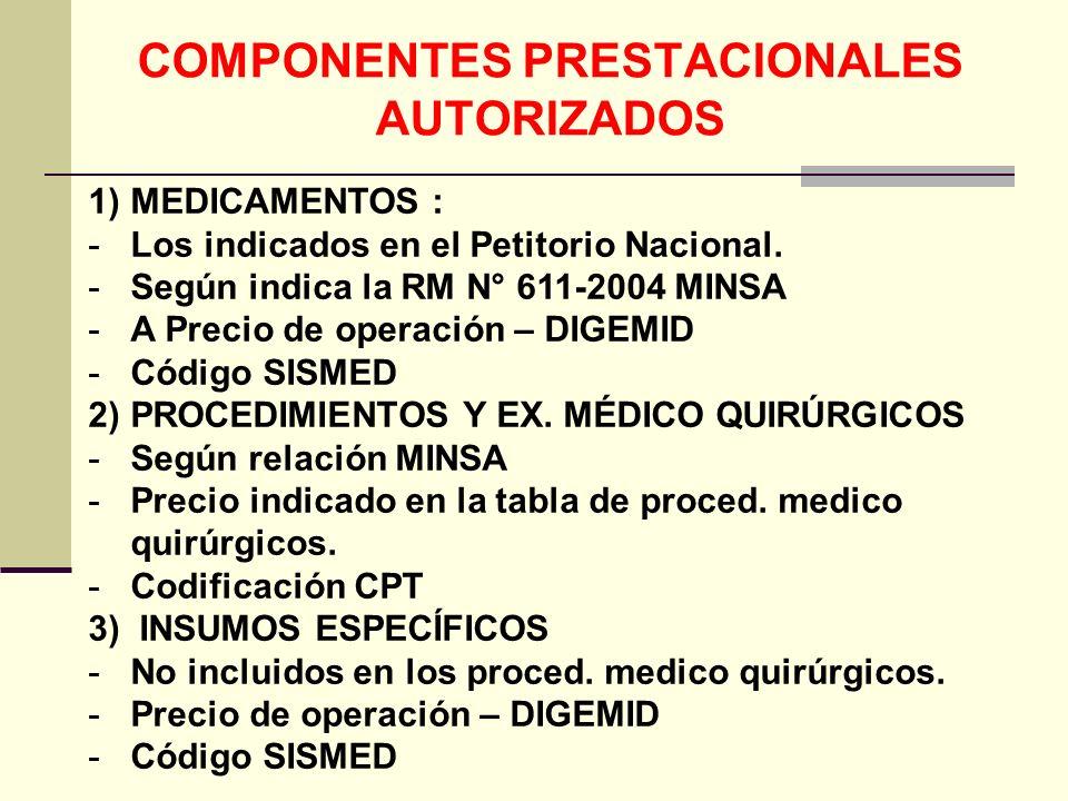 COMPONENTES PRESTACIONALES AUTORIZADOS
