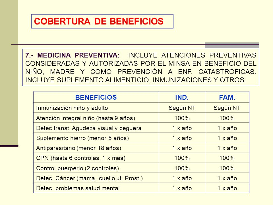 COBERTURA DE BENEFICIOS