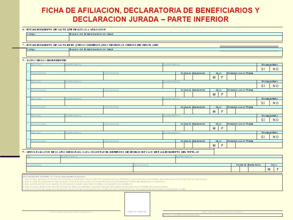 FICHA DE AFILIACION, DECLARATORIA DE BENEFICIARIOS Y DECLARACION JURADA – PARTE INFERIOR