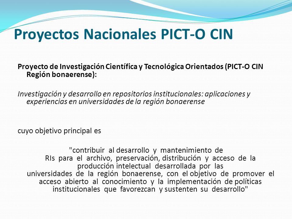 Proyectos Nacionales PICT-O CIN