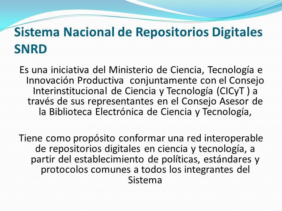 Sistema Nacional de Repositorios Digitales SNRD