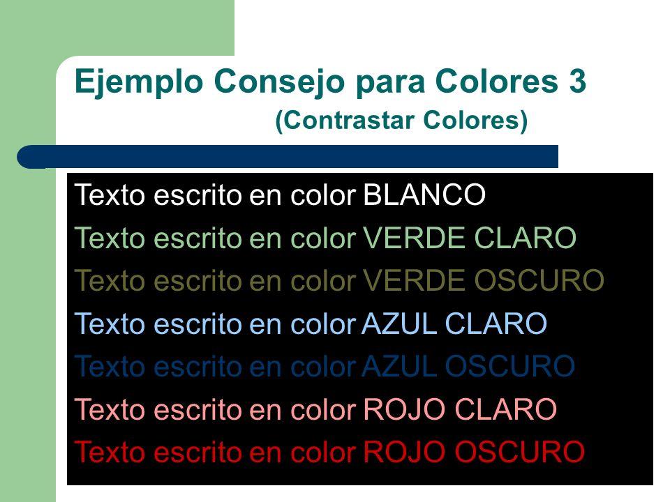 Ejemplo Consejo para Colores 3 (Contrastar Colores)