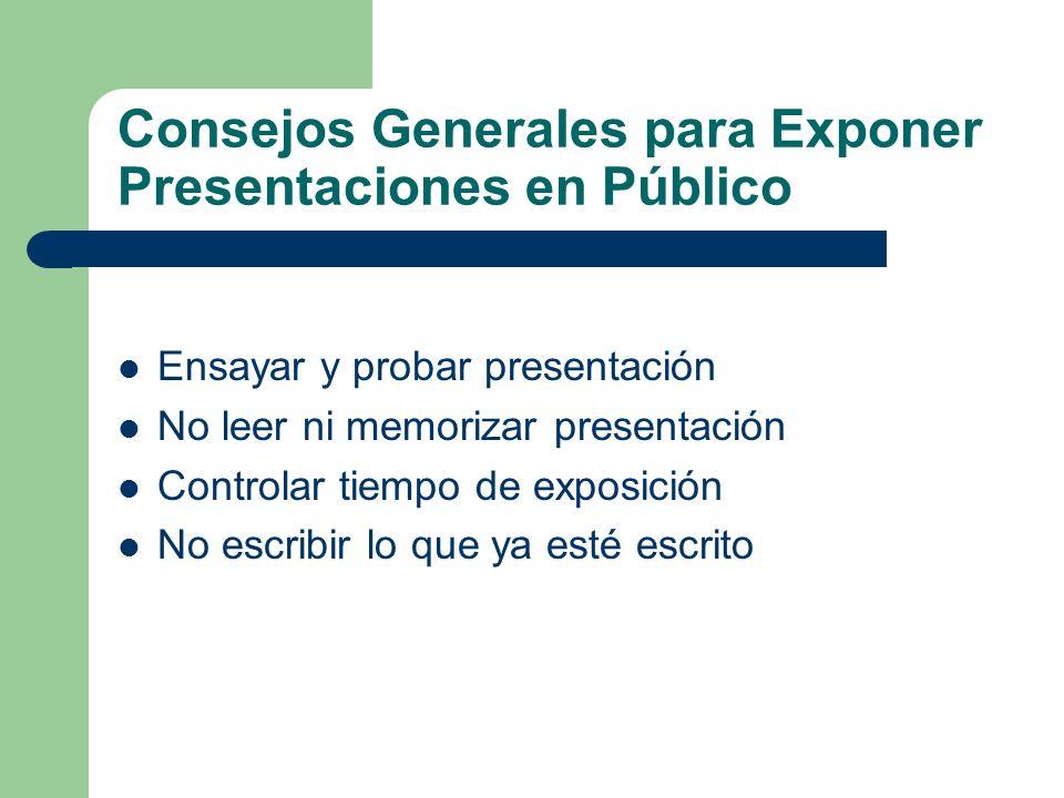 Consejos Generales para Exponer Presentaciones en Público