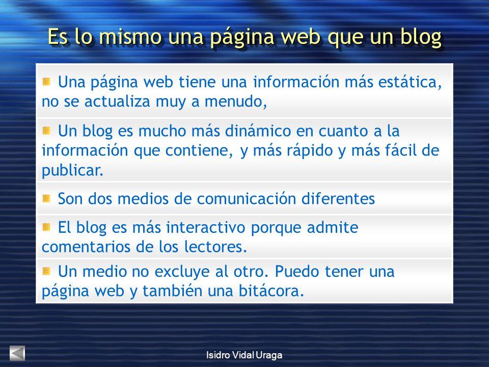 Es lo mismo una página web que un blog