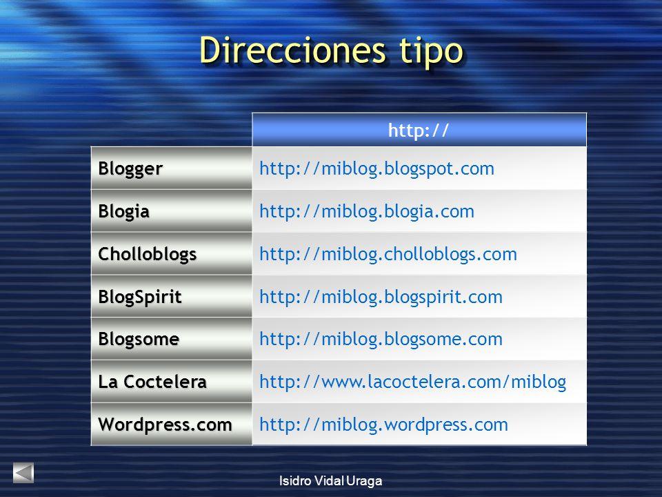 Direcciones tipo http:// Blogger http://miblog.blogspot.com Blogia