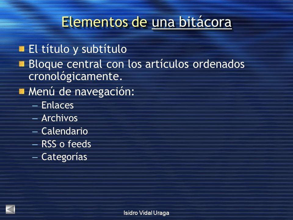 Elementos de una bitácora