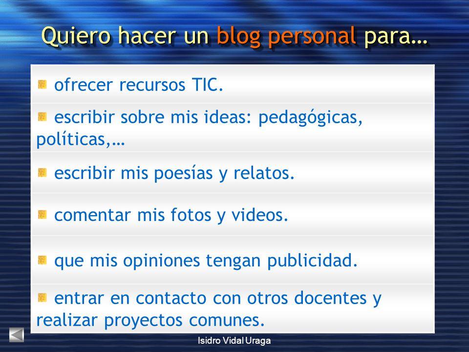 Quiero hacer un blog personal para…