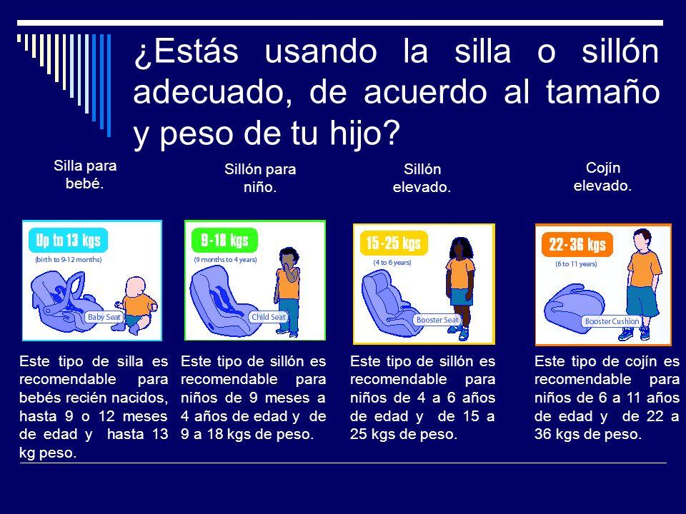 ¿Estás usando la silla o sillón adecuado, de acuerdo al tamaño y peso de tu hijo
