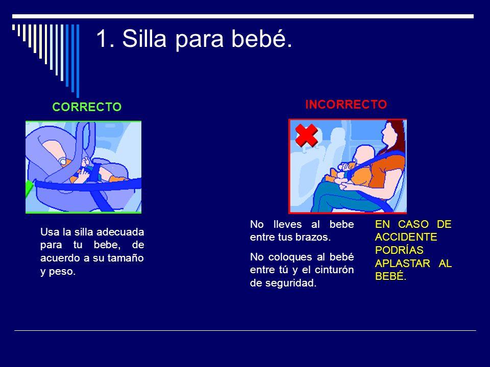 1. Silla para bebé. INCORRECTO CORRECTO