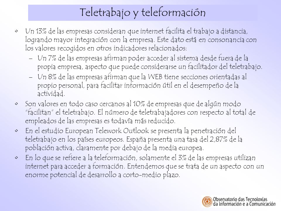 Teletrabajo y teleformación