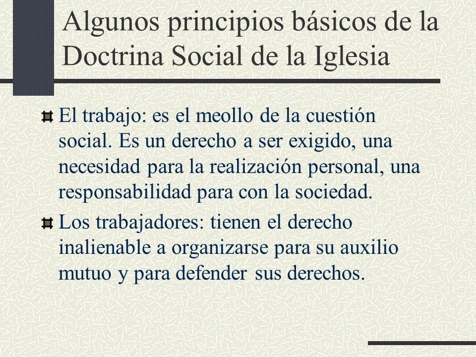 Algunos principios básicos de la Doctrina Social de la Iglesia