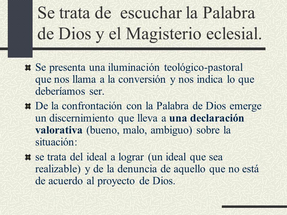 Se trata de escuchar la Palabra de Dios y el Magisterio eclesial.