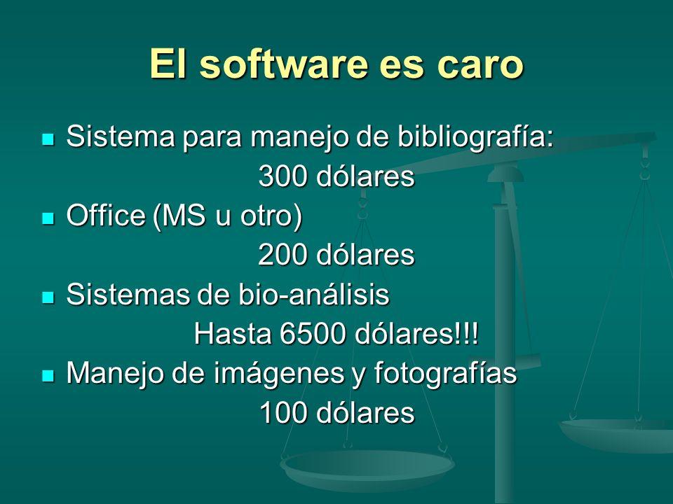 El software es caro Sistema para manejo de bibliografía: 300 dólares
