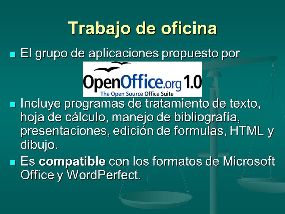 Trabajo de oficina El grupo de aplicaciones propuesto por