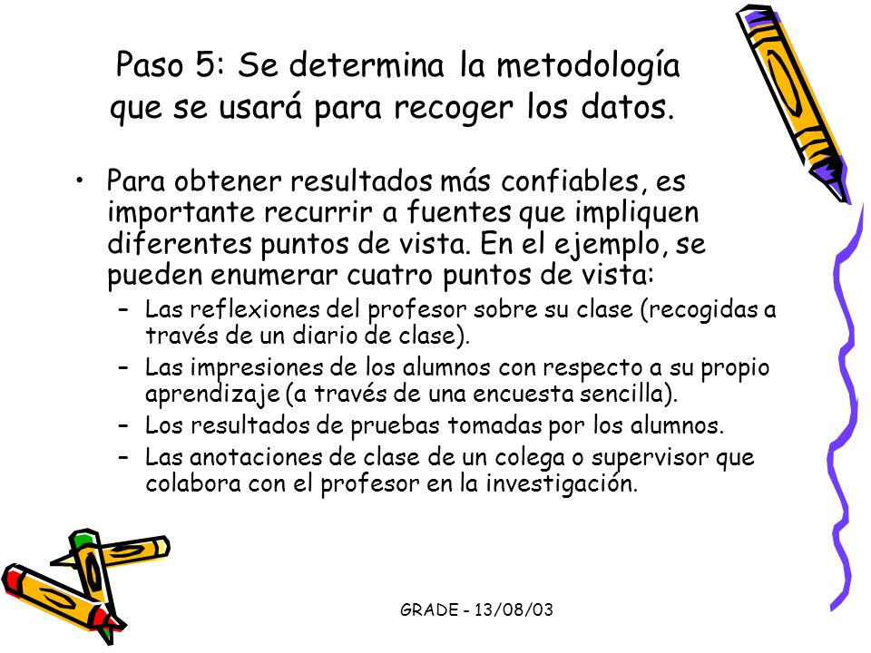 Paso 5: Se determina la metodología que se usará para recoger los datos.