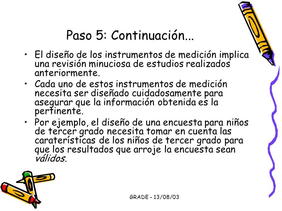 Paso 5: Continuación... El diseño de los instrumentos de medición implica una revisión minuciosa de estudios realizados anteriormente.