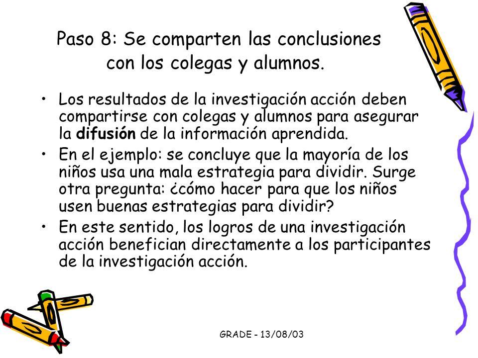 Paso 8: Se comparten las conclusiones con los colegas y alumnos.