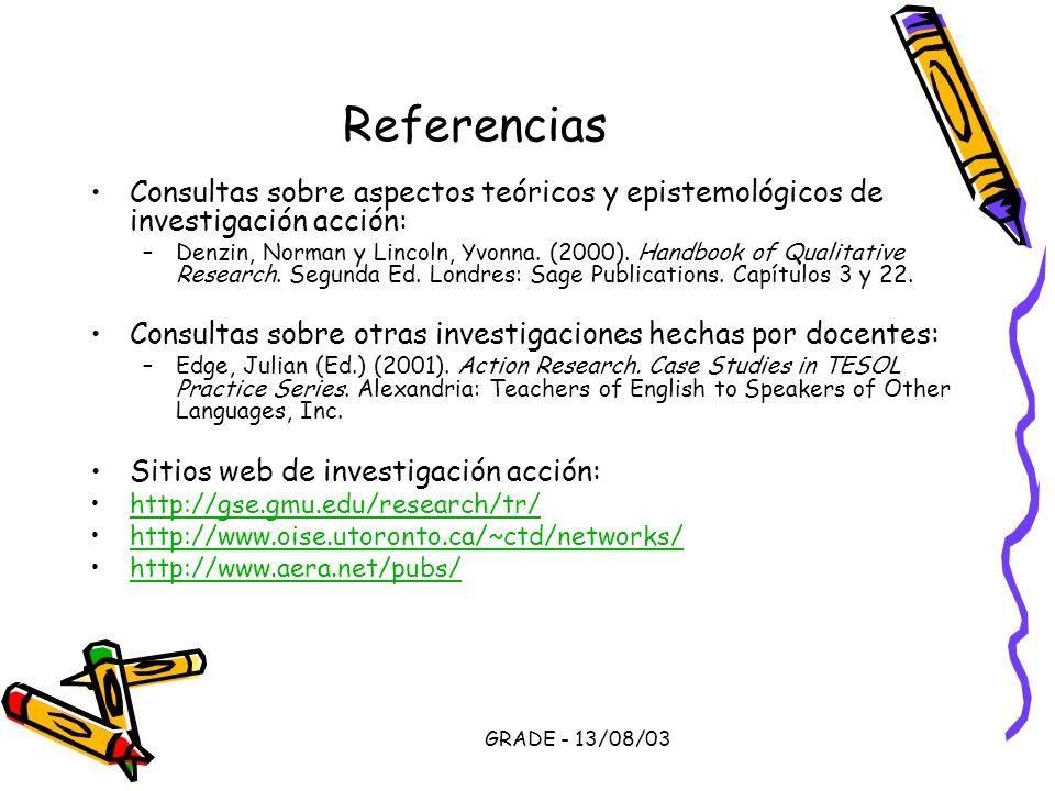 Referencias Consultas sobre aspectos teóricos y epistemológicos de investigación acción: